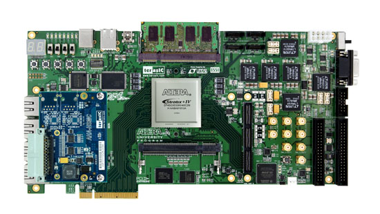 影像开发平台:aha-hsmc 子卡,de4 开发板连接示意图